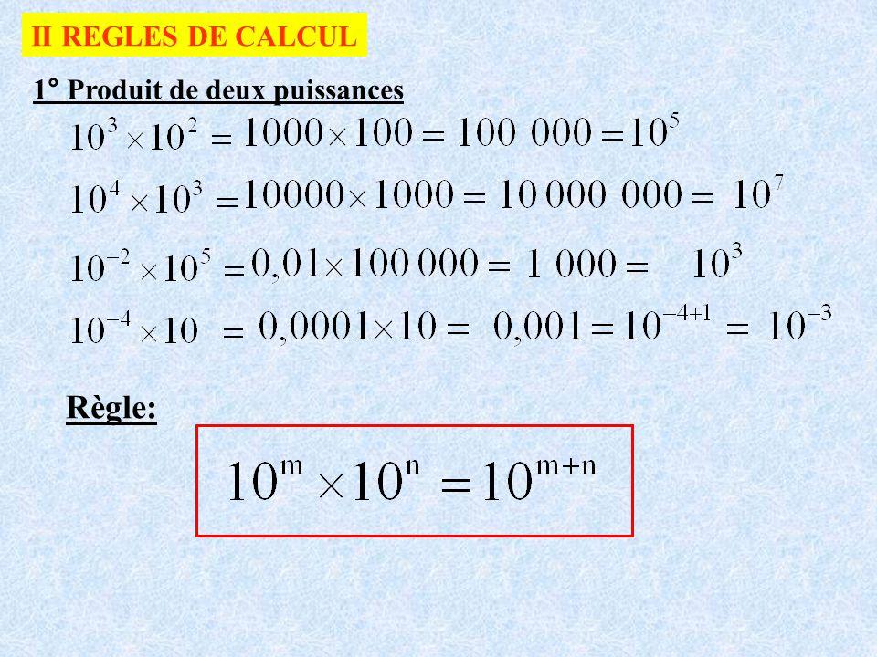 II REGLES DE CALCUL 1° Produit de deux puissances Règle: