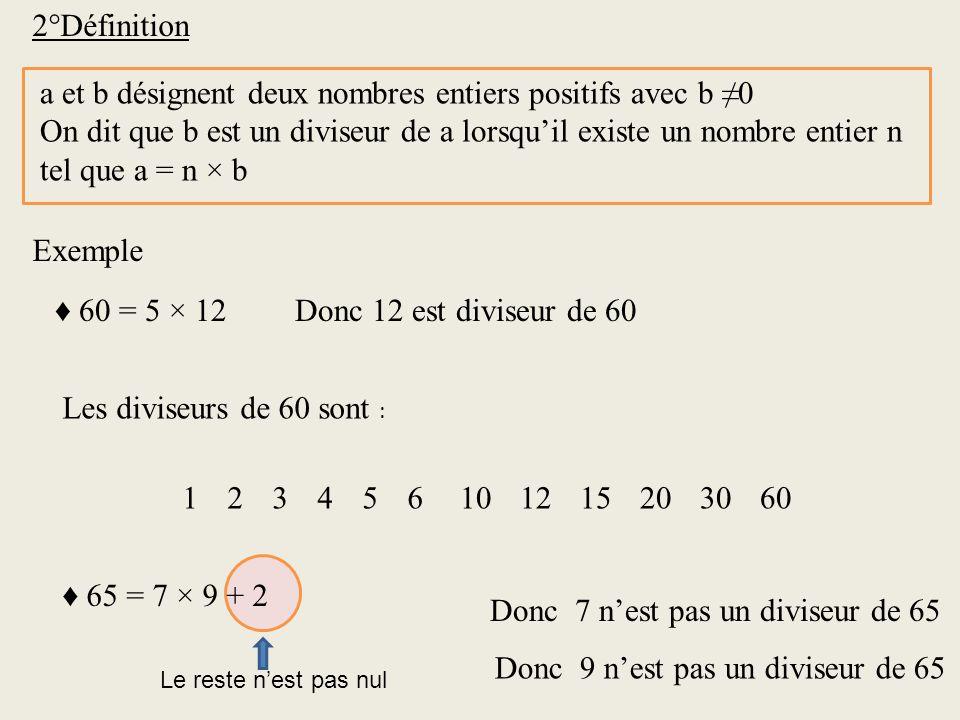 a et b désignent deux nombres entiers positifs avec b ≠0