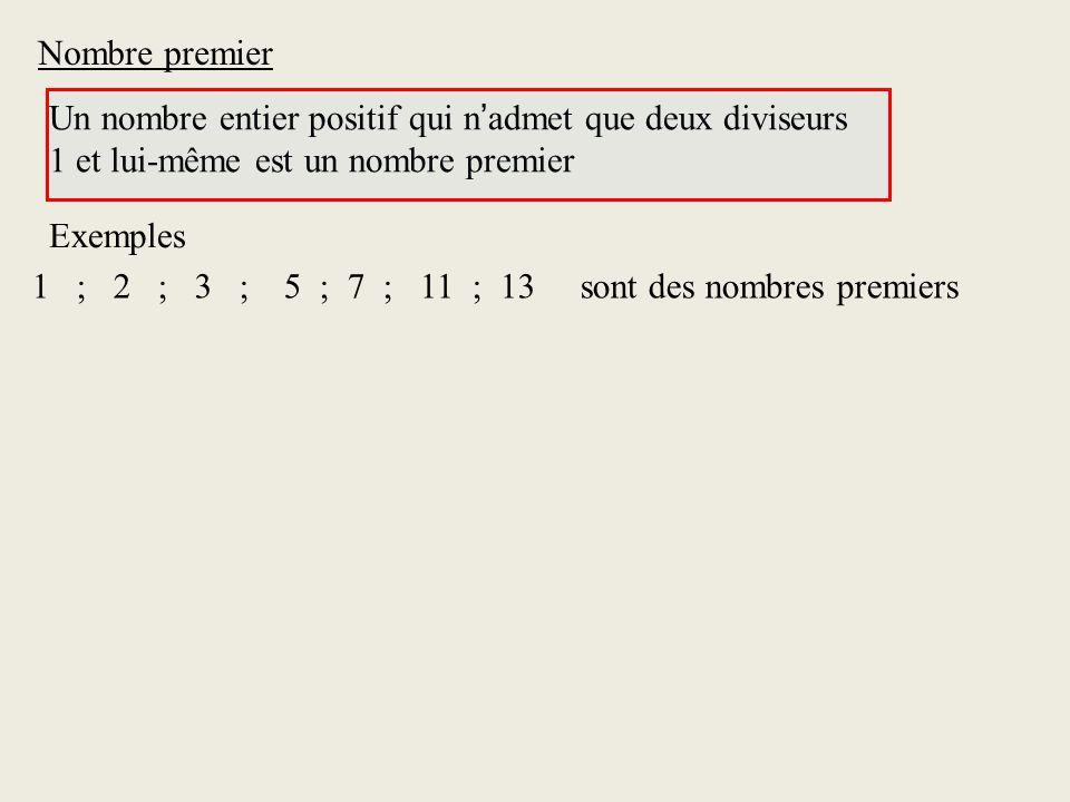 Nombre premier Un nombre entier positif qui n'admet que deux diviseurs. 1 et lui-même est un nombre premier.