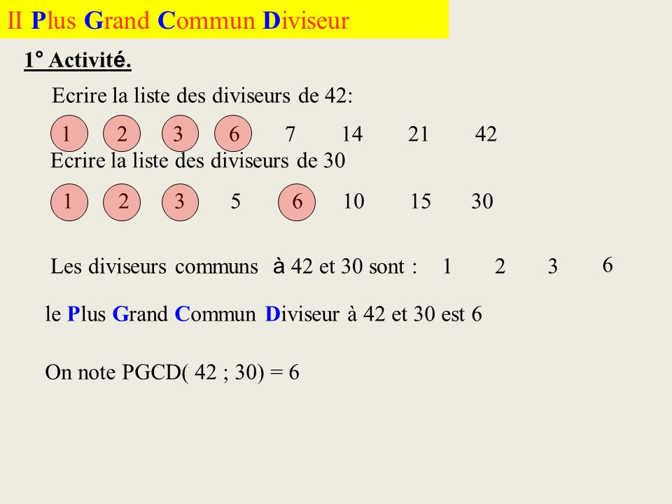 II Plus Grand Commun Diviseur