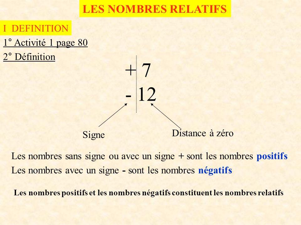 + 7 - 12 LES NOMBRES RELATIFS I DEFINITION 1° Activité 1 page 80