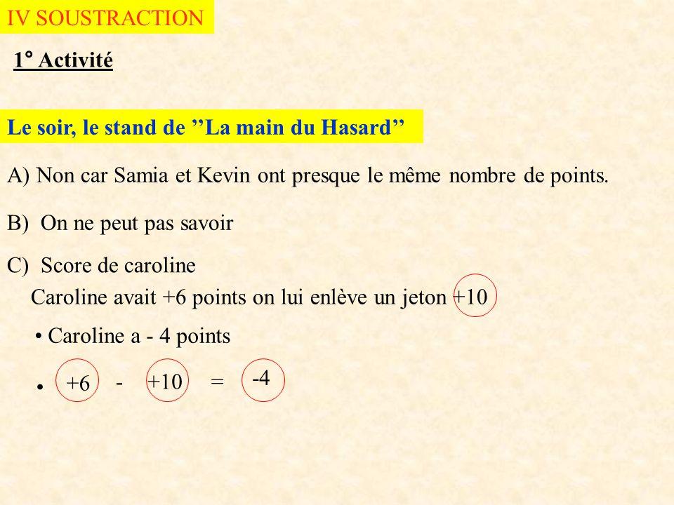 IV SOUSTRACTION 1° Activité. Le soir, le stand de ''La main du Hasard'' A) Non car Samia et Kevin ont presque le même nombre de points.