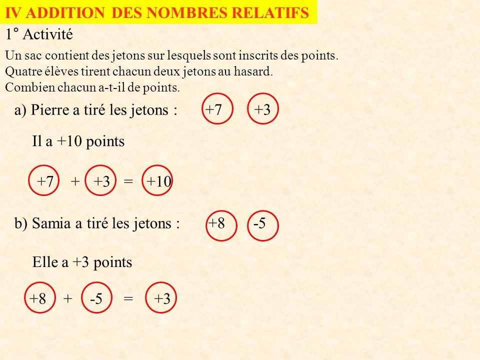 IV ADDITION DES NOMBRES RELATIFS 1° Activité