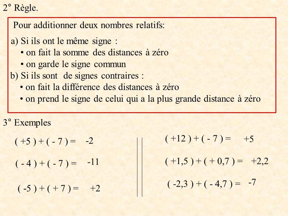 2° Règle. Pour additionner deux nombres relatifs: a) Si ils ont le même signe : • on fait la somme des distances à zéro.
