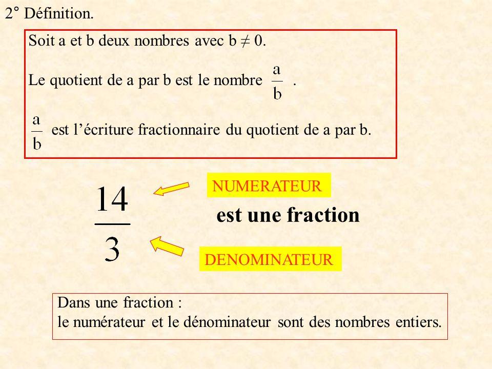 est une fraction 2° Définition. Soit a et b deux nombres avec b ≠ 0.