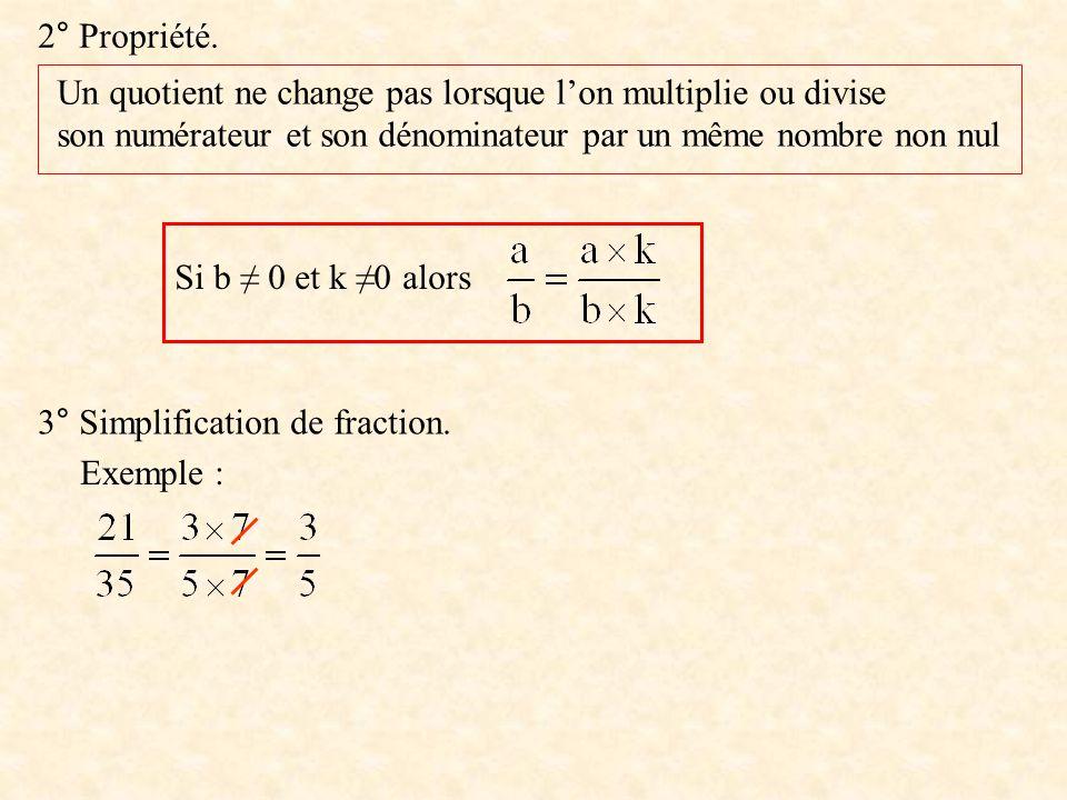 2° Propriété. Un quotient ne change pas lorsque l'on multiplie ou divise. son numérateur et son dénominateur par un même nombre non nul.