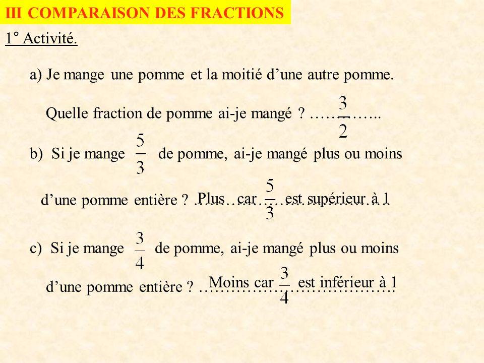 III COMPARAISON DES FRACTIONS