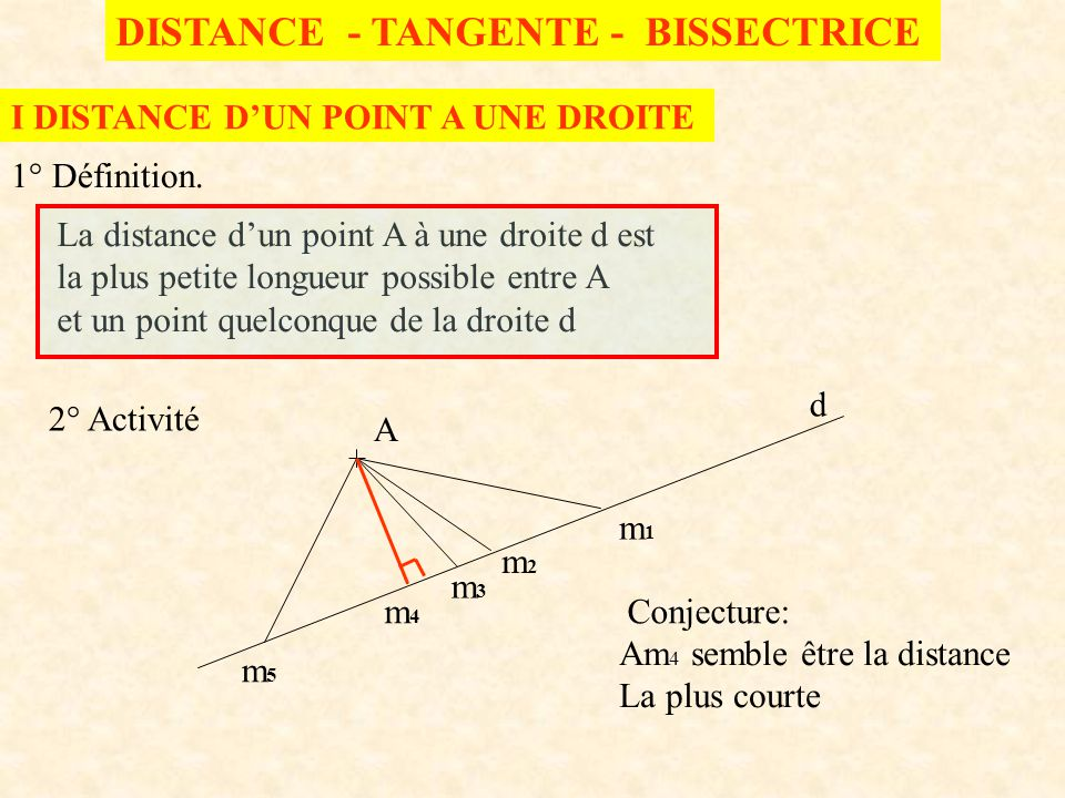 DISTANCE - TANGENTE - BISSECTRICE