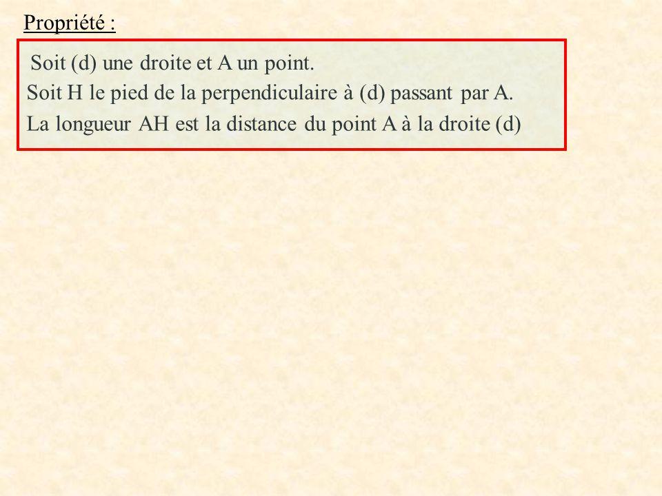 Propriété : Soit (d) une droite et A un point. Soit H le pied de la perpendiculaire à (d) passant par A.