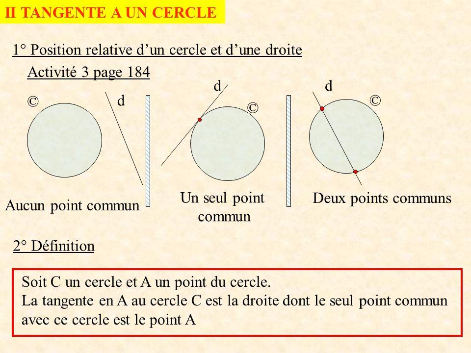 II TANGENTE A UN CERCLE 1° Position relative d'un cercle et d'une droite. Activité 3 page 184. d.