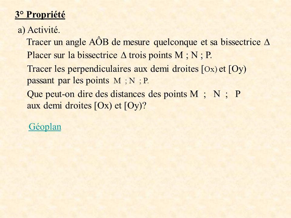 3° Propriété a) Activité. Tracer un angle AÔB de mesure quelconque et sa bissectrice ∆ Placer sur la bissectrice ∆ trois points M ; N ; P.