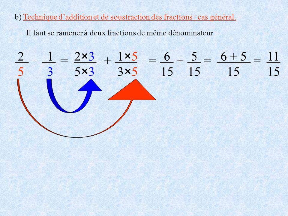 b) Technique d'addition et de soustraction des fractions : cas général.