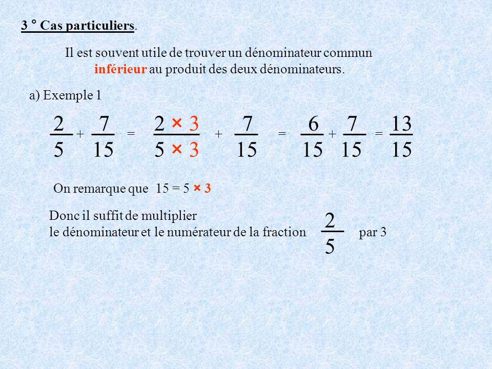 3 ° Cas particuliers. Il est souvent utile de trouver un dénominateur commun. inférieur au produit des deux dénominateurs.
