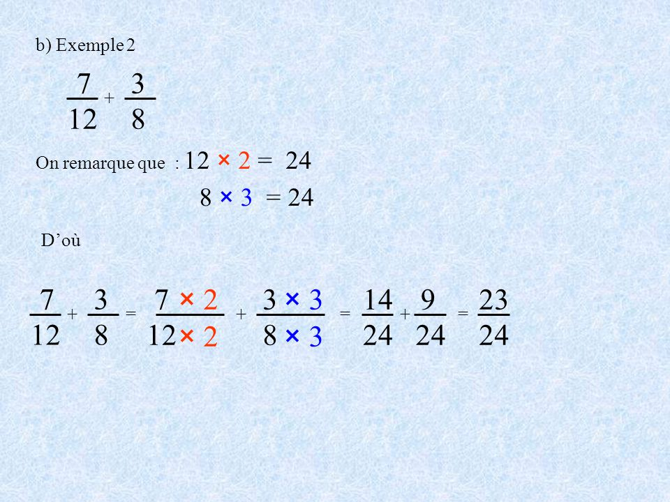 b) Exemple 2 7. 12. + 3. 8. On remarque que : 12 × 2 = 24. 8 × 3 = 24. D'où. 7. 12. 3.