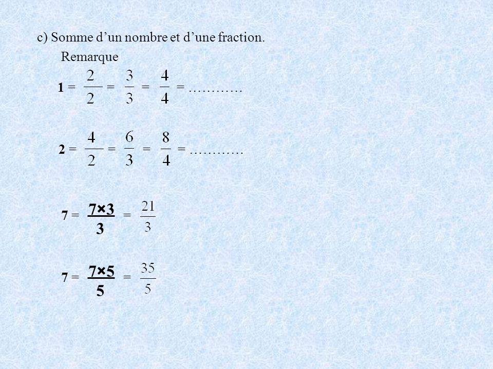 7×3 3 7×5 5 c) Somme d'un nombre et d'une fraction. Remarque 1 = = =