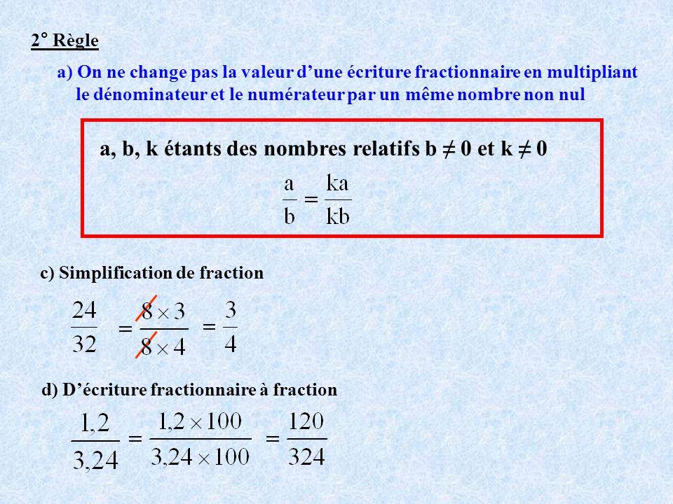 a, b, k étants des nombres relatifs b ≠ 0 et k ≠ 0