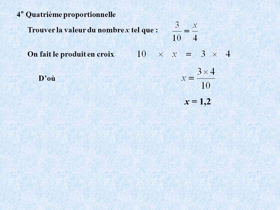 x = 1,2 4° Quatrième proportionnelle