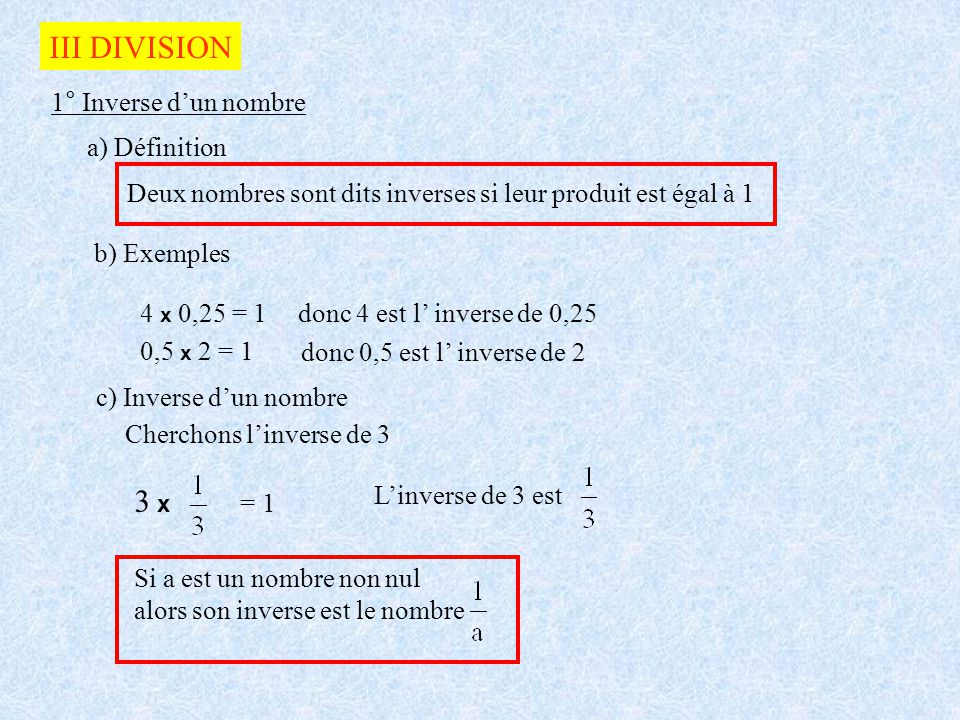 III DIVISION 3 x 1° Inverse d'un nombre a) Définition