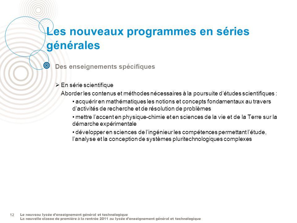 Les nouveaux programmes en séries générales