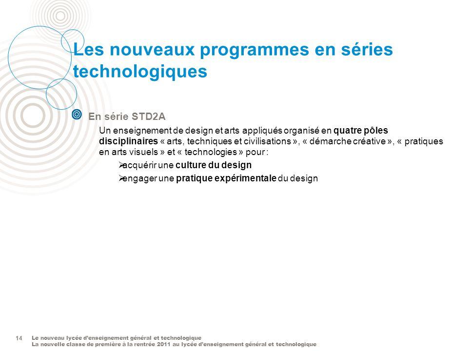 Les nouveaux programmes en séries technologiques