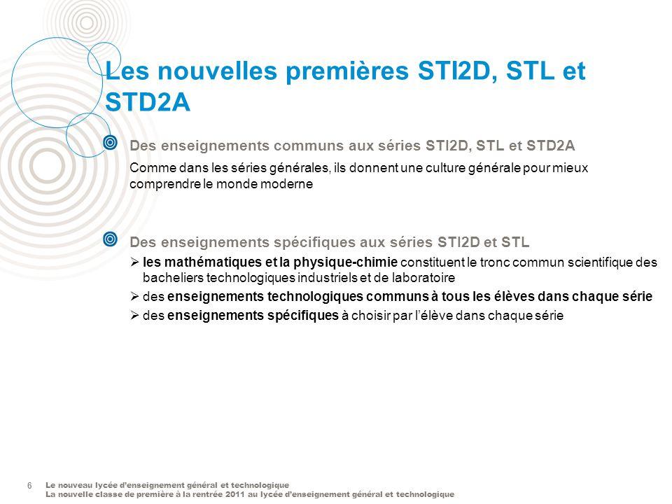 Les nouvelles premières STI2D, STL et STD2A