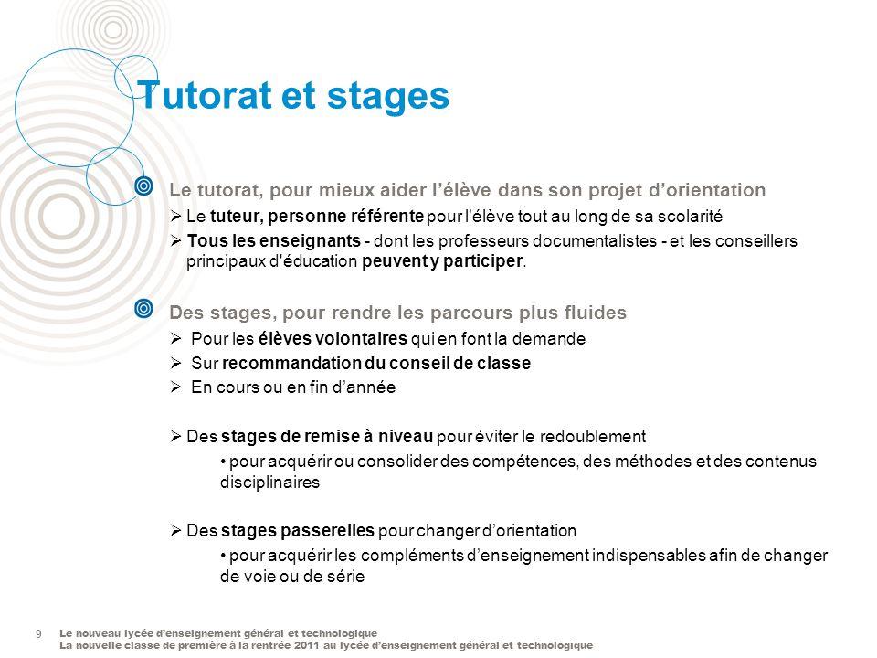 Tutorat et stages Le tutorat, pour mieux aider l'élève dans son projet d'orientation.