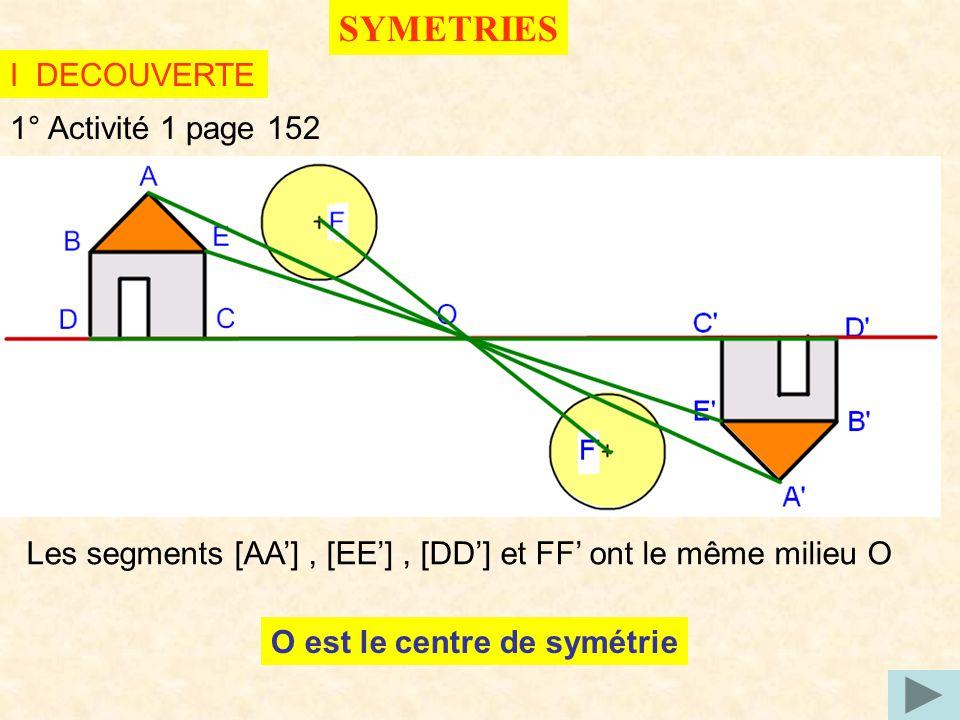 SYMETRIES I DECOUVERTE 1° Activité 1 page 152
