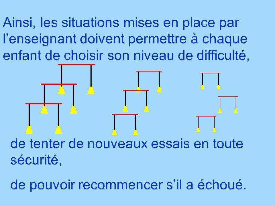 Ainsi, les situations mises en place par l'enseignant doivent permettre à chaque enfant de choisir son niveau de difficulté,