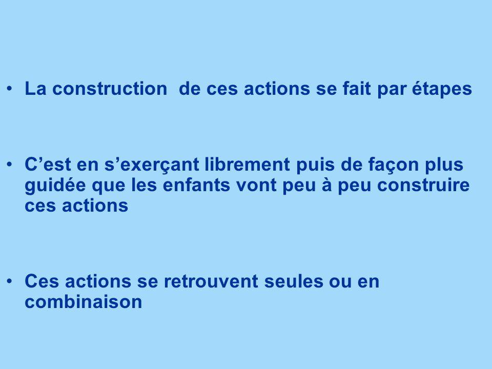 La construction de ces actions se fait par étapes