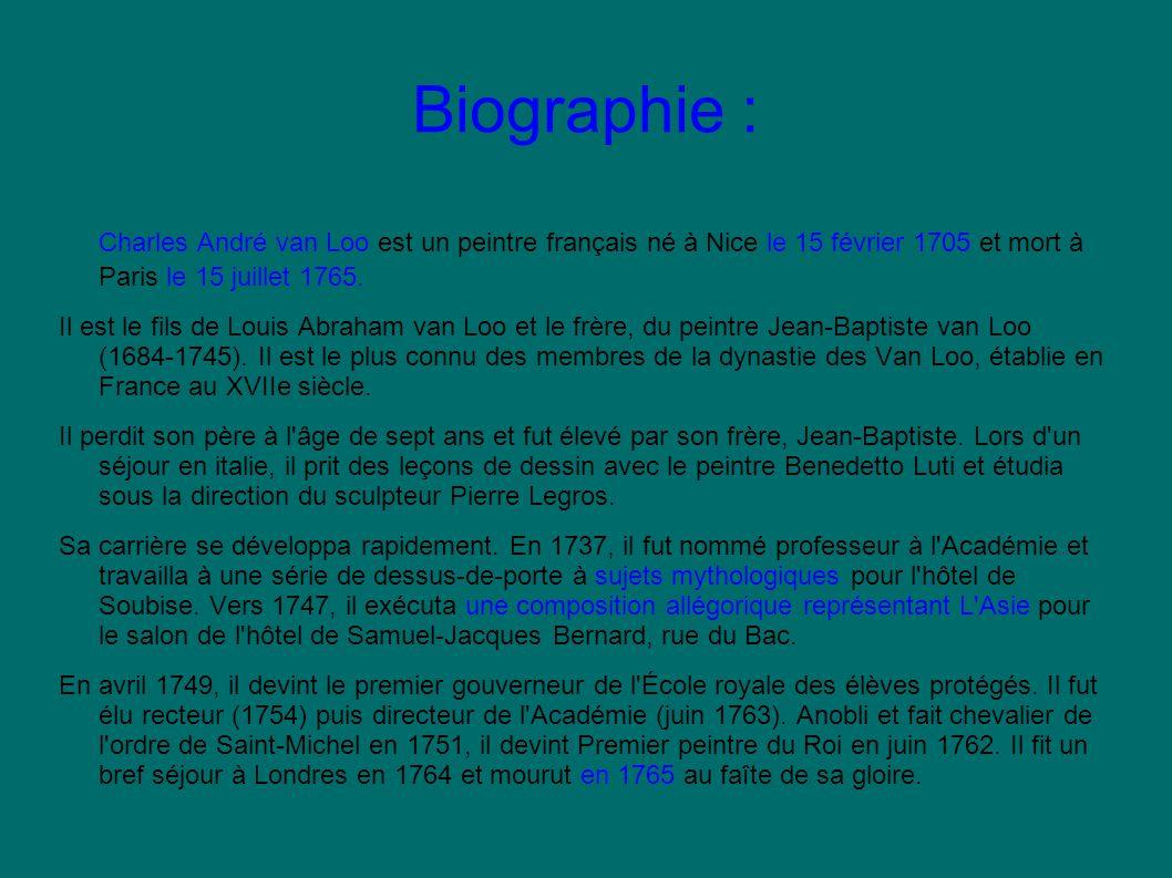 Biographie : Charles André van Loo est un peintre français né à Nice le 15 février 1705 et mort à Paris le 15 juillet 1765.