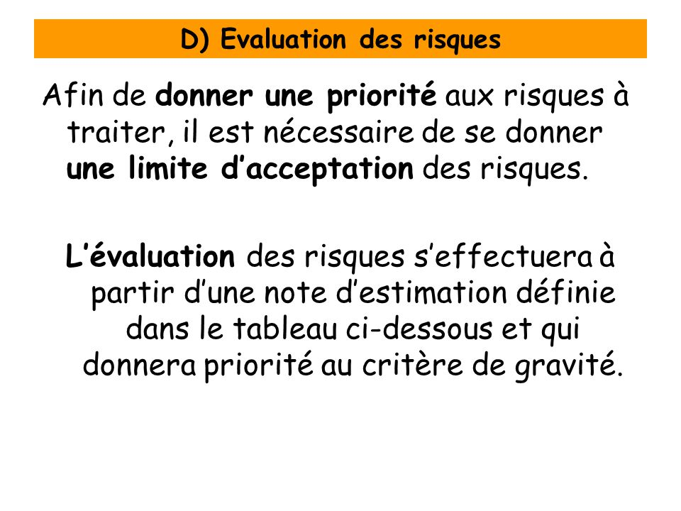 D) Evaluation des risques