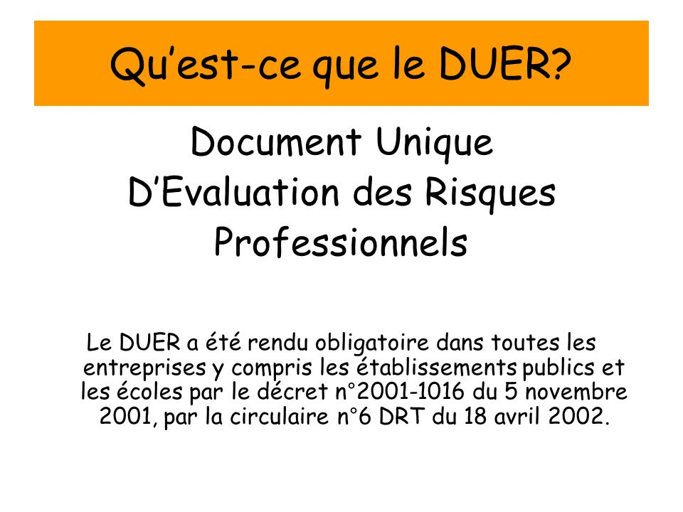 D'Evaluation des Risques