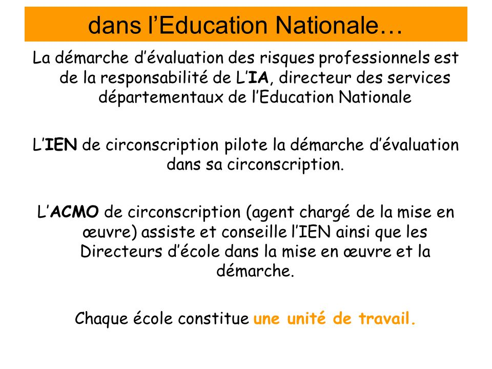 dans l'Education Nationale…