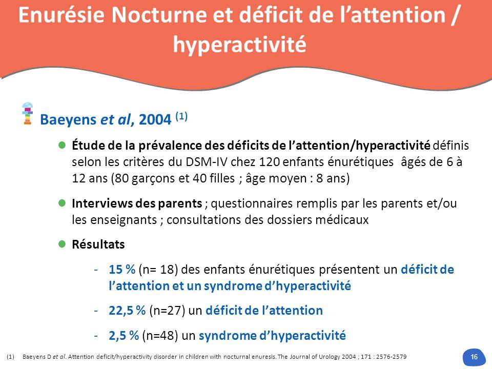 Énurésie Nocturne et déficit de l'attention /hyperactivité