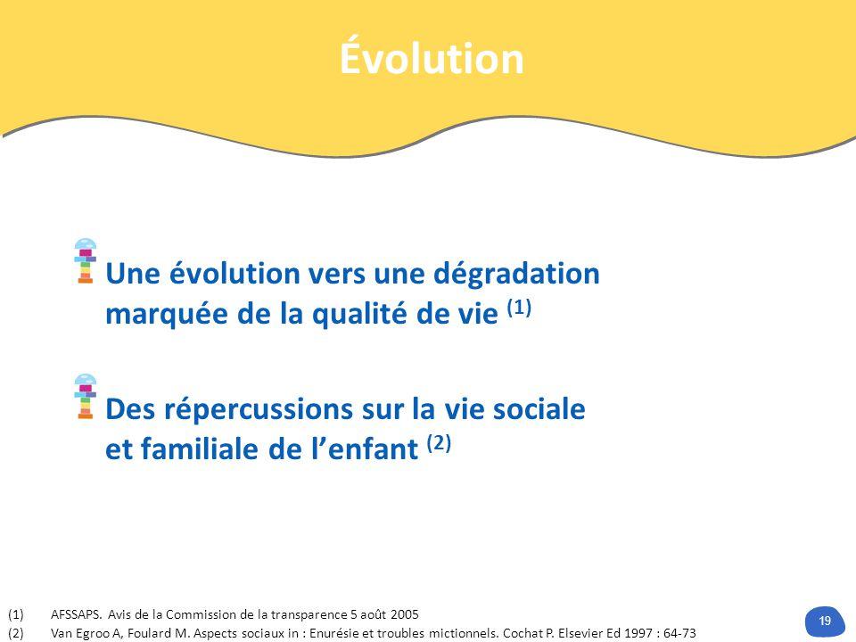 Évolution Une évolution vers une dégradation marquée de la qualité de vie (1) Des répercussions sur la vie sociale et familiale de l'enfant (2)
