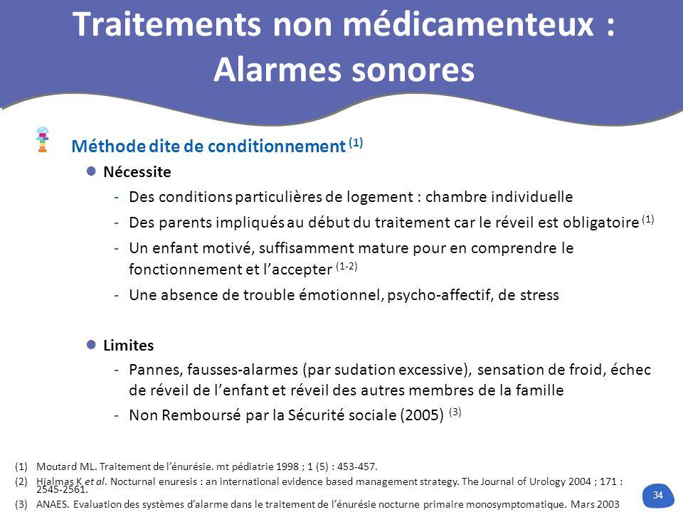Traitements non médicamenteux : Alarmes sonores