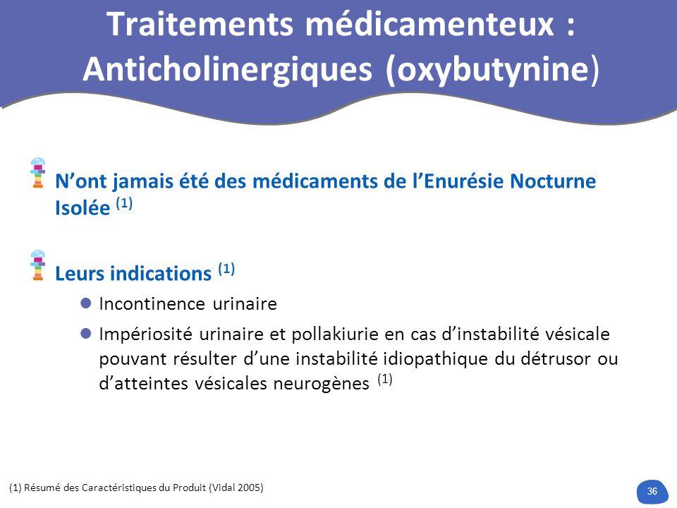 Traitements médicamenteux : Anticholinergiques (oxybutynine)