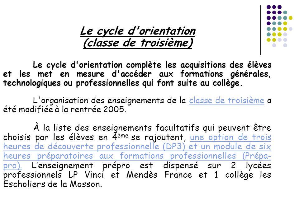 Le cycle d orientation (classe de troisième)