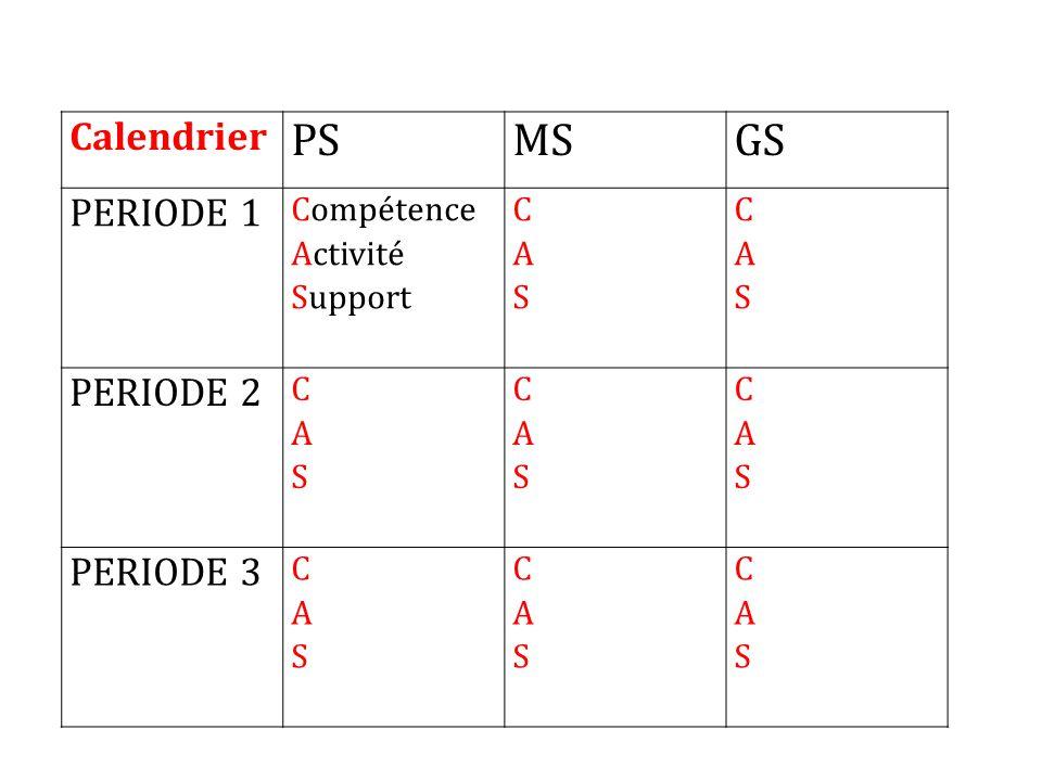 PS MS GS Calendrier PERIODE 1 PERIODE 2 PERIODE 3 Compétence Activité