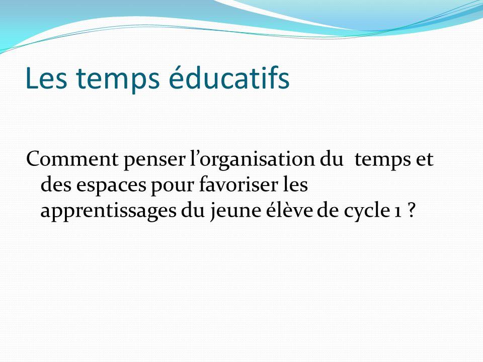 Les temps éducatifs Comment penser l'organisation du temps et des espaces pour favoriser les apprentissages du jeune élève de cycle 1