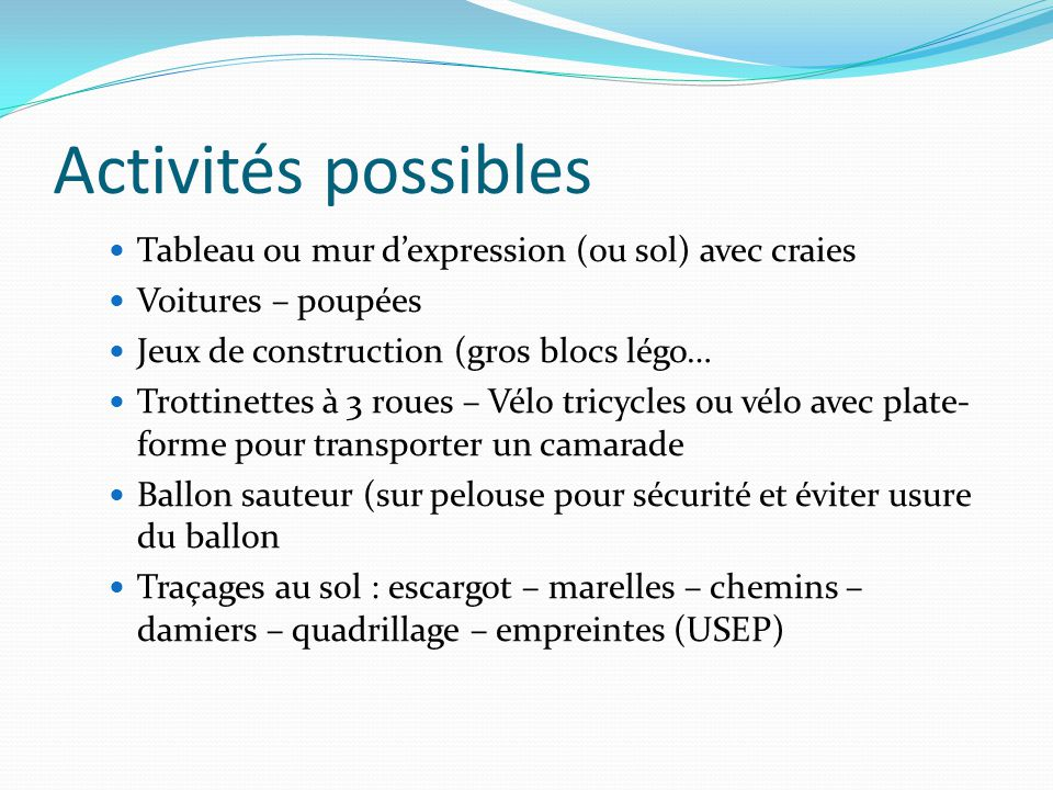 Activités possibles Tableau ou mur d'expression (ou sol) avec craies