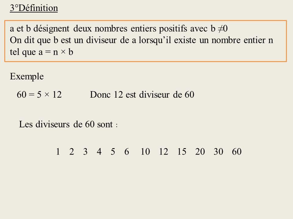 3°Définition a et b désignent deux nombres entiers positifs avec b ≠0. On dit que b est un diviseur de a lorsqu'il existe un nombre entier n.