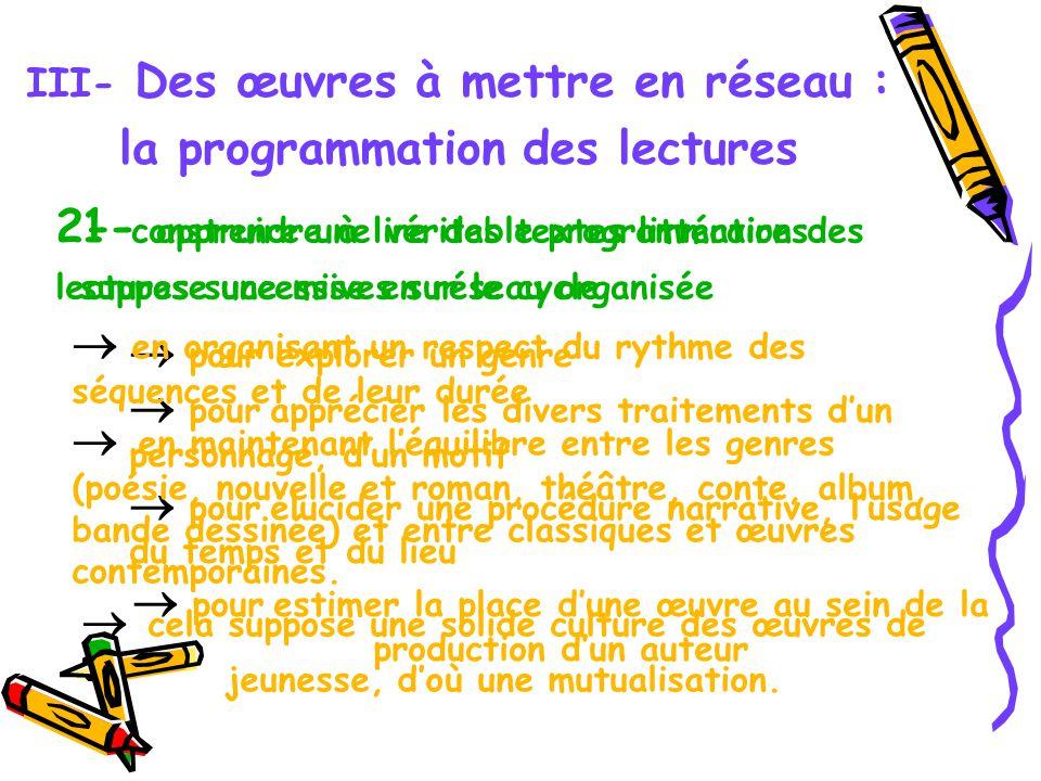III- Des œuvres à mettre en réseau : la programmation des lectures