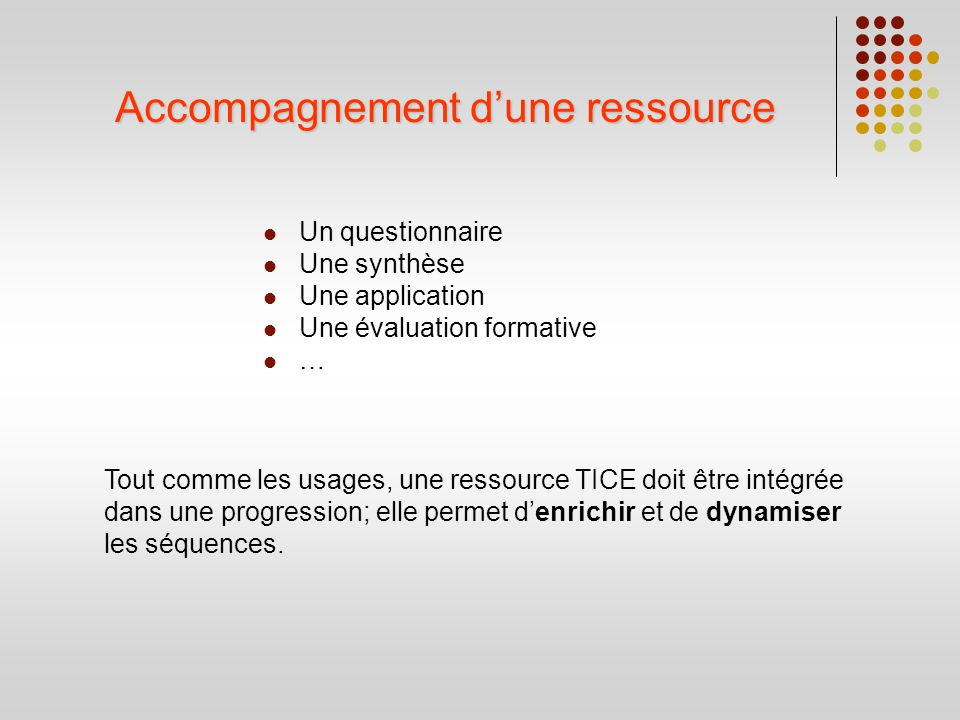Accompagnement d'une ressource