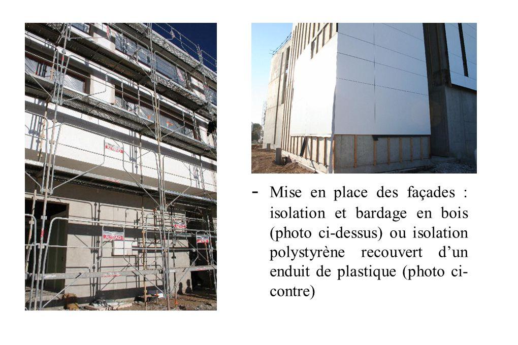- Mise en place des façades : isolation et bardage en bois (photo ci-dessus) ou isolation polystyrène recouvert d'un enduit de plastique (photo ci-contre)