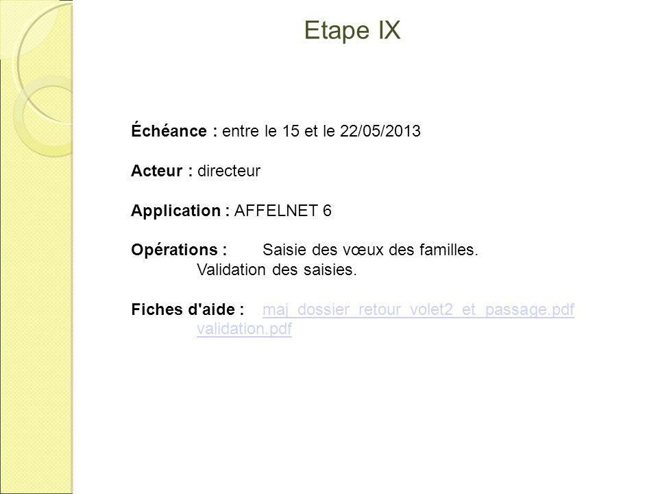 Etape IX Échéance : entre le 15 et le 22/05/2013 Acteur : directeur