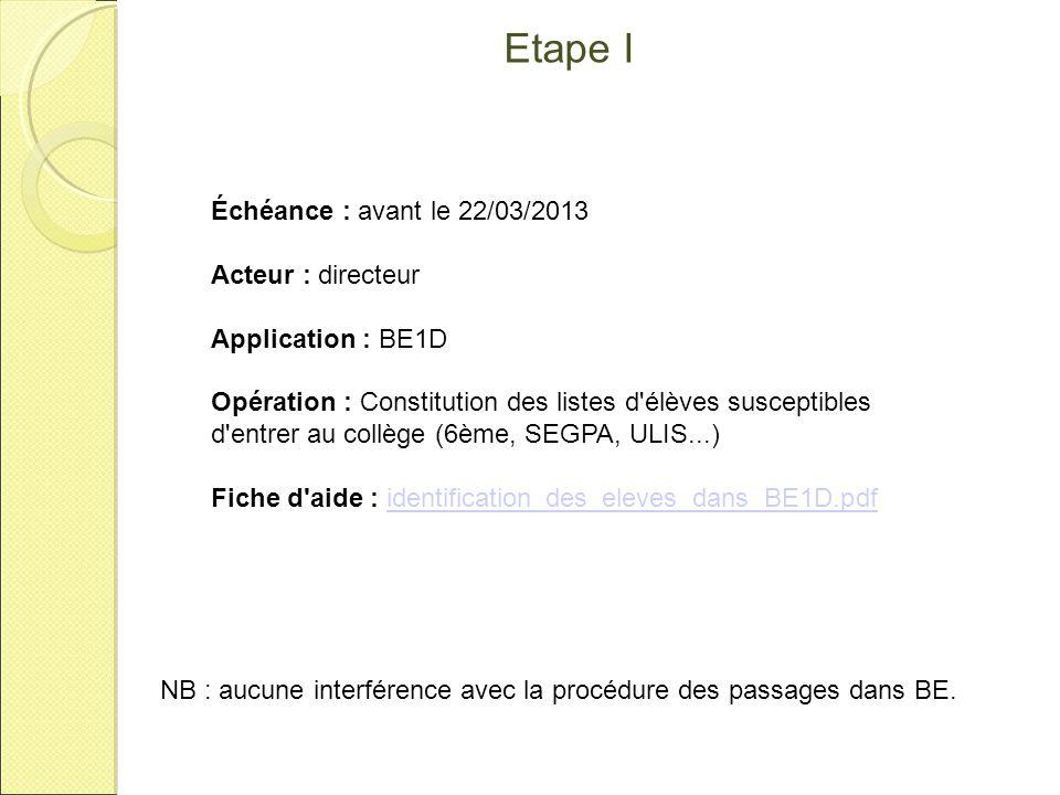 Etape I Échéance : avant le 22/03/2013 Acteur : directeur
