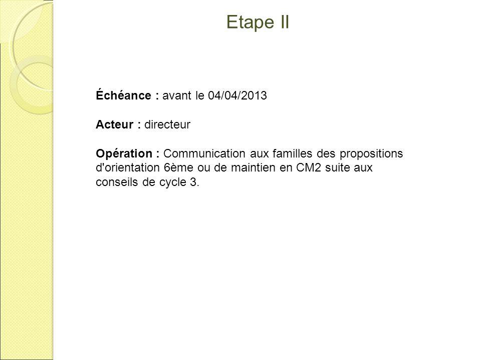 Etape II Échéance : avant le 04/04/2013 Acteur : directeur