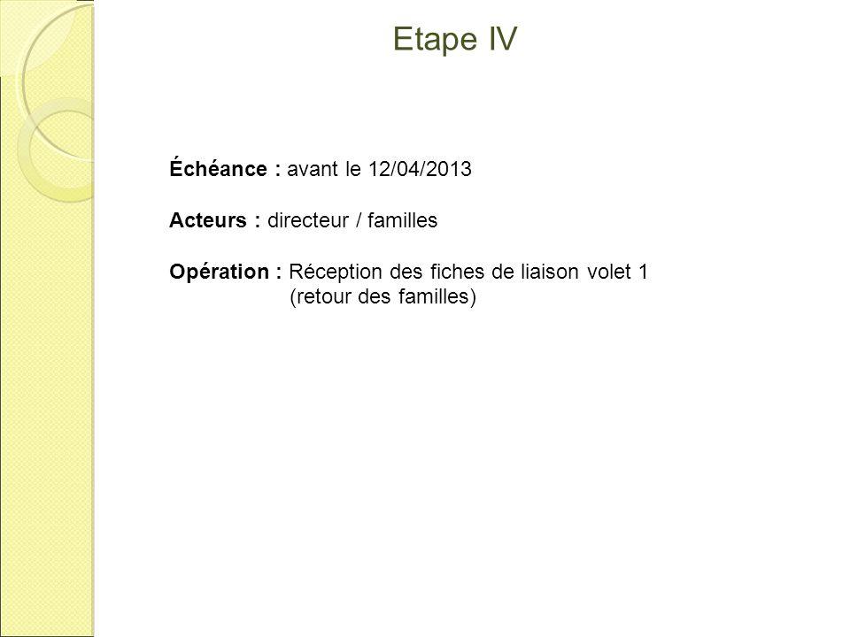 Etape IV Échéance : avant le 12/04/2013 Acteurs : directeur / familles