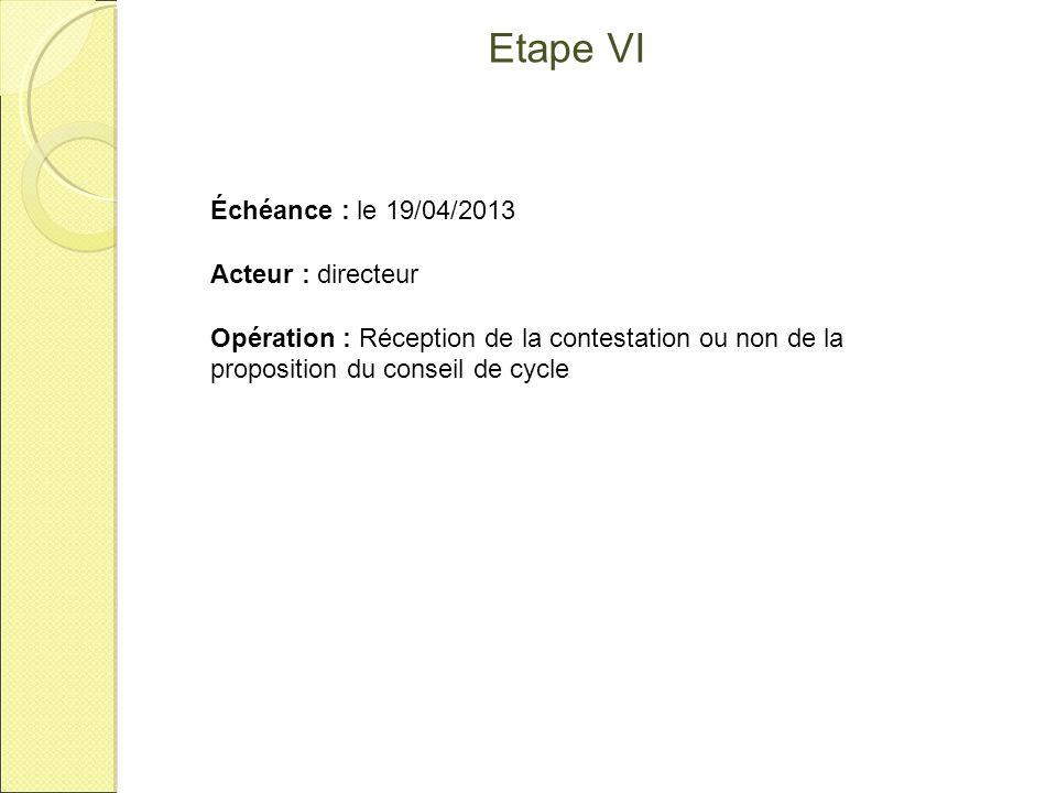 Etape VI Échéance : le 19/04/2013 Acteur : directeur